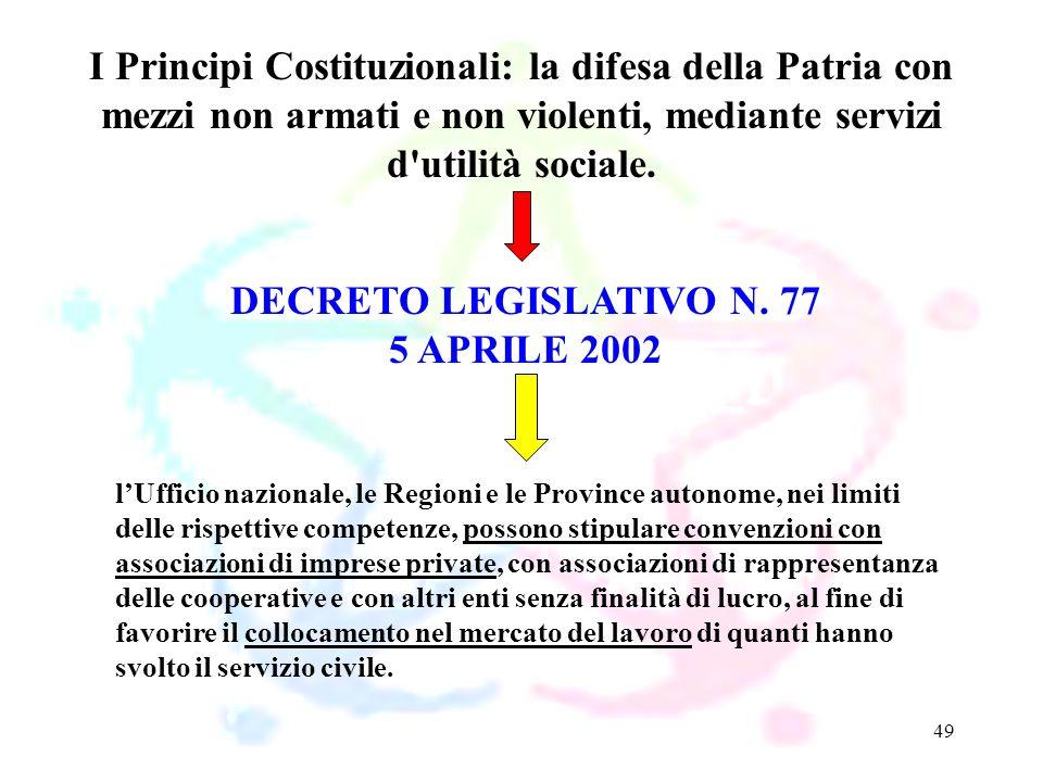 49 DECRETO LEGISLATIVO N. 77 5 APRILE 2002 I Principi Costituzionali: la difesa della Patria con mezzi non armati e non violenti, mediante servizi d'u