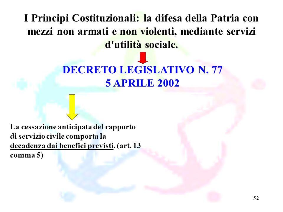 52 DECRETO LEGISLATIVO N. 77 5 APRILE 2002 I Principi Costituzionali: la difesa della Patria con mezzi non armati e non violenti, mediante servizi d'u