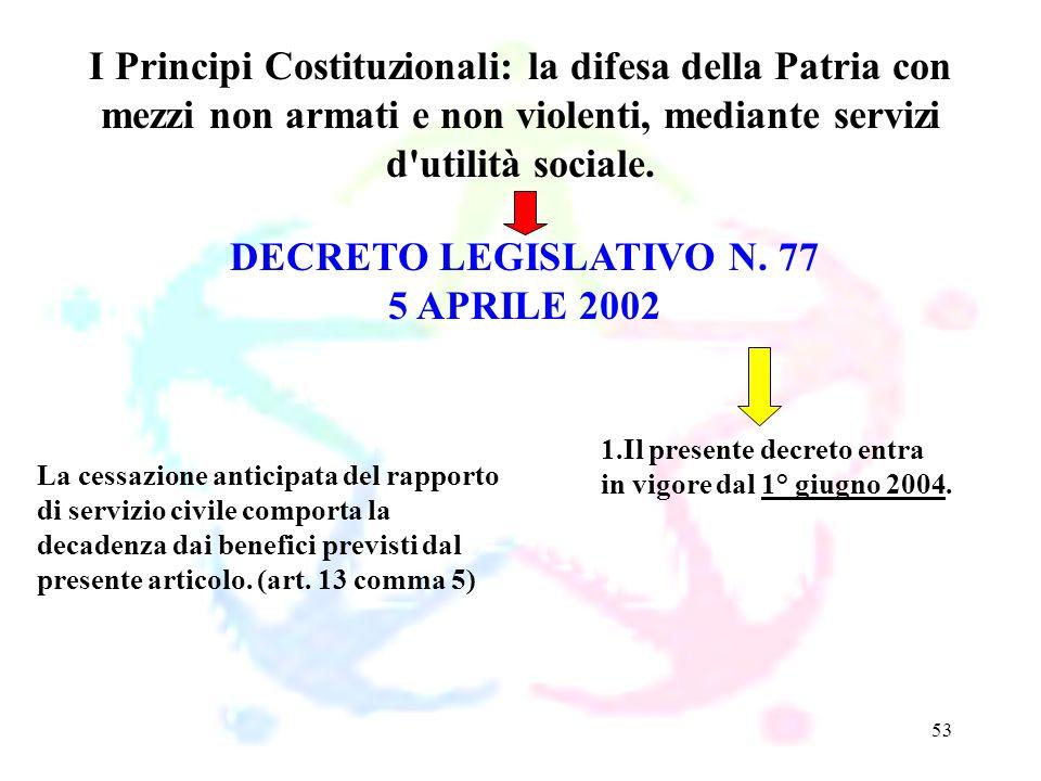 53 DECRETO LEGISLATIVO N. 77 5 APRILE 2002 I Principi Costituzionali: la difesa della Patria con mezzi non armati e non violenti, mediante servizi d'u