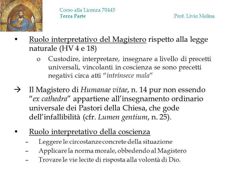 Corso alla Licenza 70445 Terza Parte Prof. Livio Melina Ruolo interpretativo del Magistero rispetto alla legge naturale (HV 4 e 18) oCustodire, interp