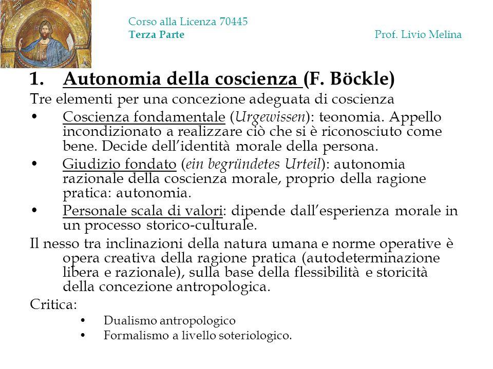 Corso alla Licenza 70445 Terza Parte Prof. Livio Melina 1.Autonomia della coscienza (F. Böckle) Tre elementi per una concezione adeguata di coscienza