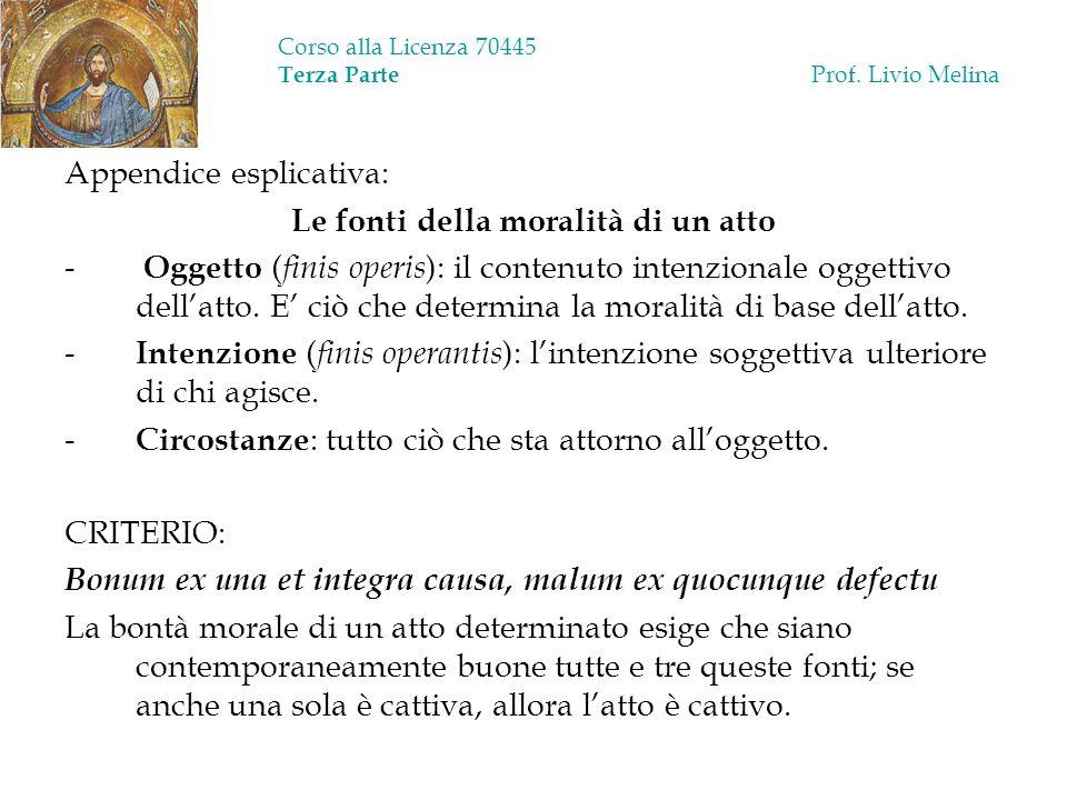 Corso alla Licenza 70445 Terza Parte Prof. Livio Melina Appendice esplicativa: Le fonti della moralità di un atto - Oggetto ( finis operis ): il conte