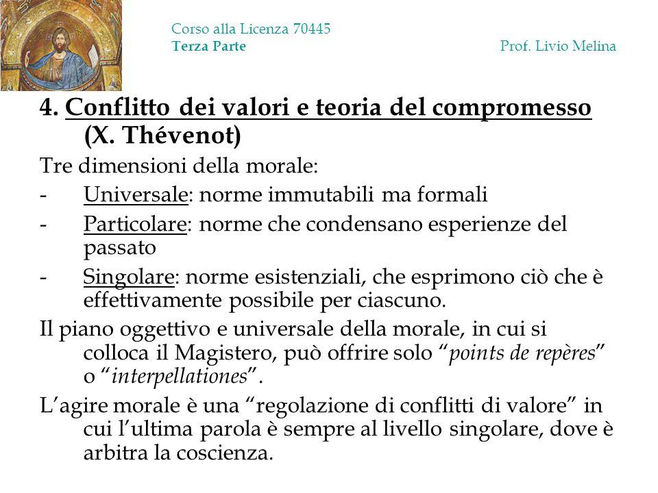 Corso alla Licenza 70445 Terza Parte Prof. Livio Melina 4. Conflitto dei valori e teoria del compromesso (X. Thévenot) Tre dimensioni della morale: -U