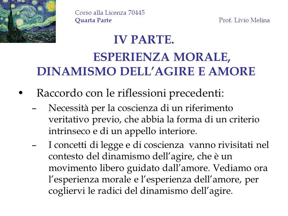 Corso alla Licenza 70445 Quarta Parte Prof. Livio Melina IV PARTE. ESPERIENZA MORALE, DINAMISMO DELLAGIRE E AMORE Raccordo con le riflessioni preceden