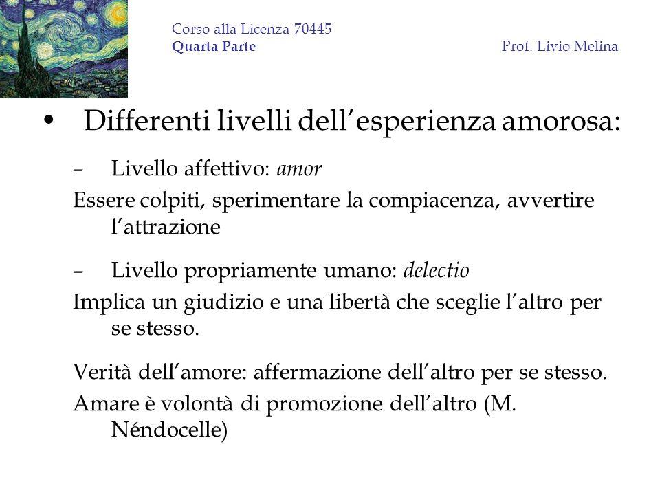 Corso alla Licenza 70445 Quarta Parte Prof. Livio Melina Differenti livelli dellesperienza amorosa: –Livello affettivo: amor Essere colpiti, speriment