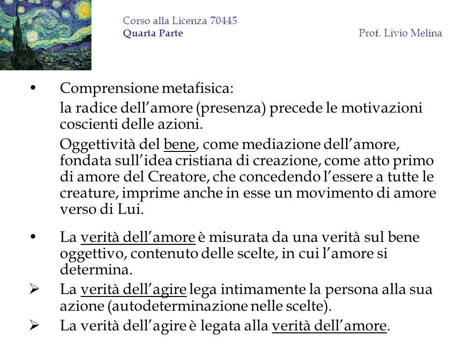 Corso alla Licenza 70445 Quarta Parte Prof. Livio Melina Comprensione metafisica: la radice dellamore (presenza) precede le motivazioni coscienti dell