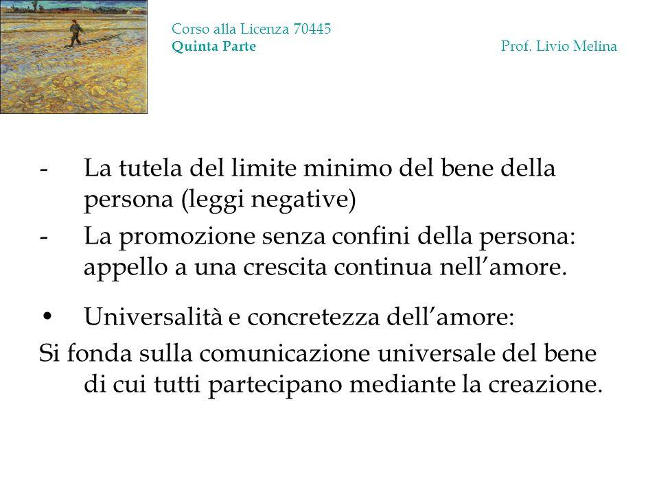 Corso alla Licenza 70445 Quinta Parte Prof. Livio Melina -La tutela del limite minimo del bene della persona (leggi negative) -La promozione senza con
