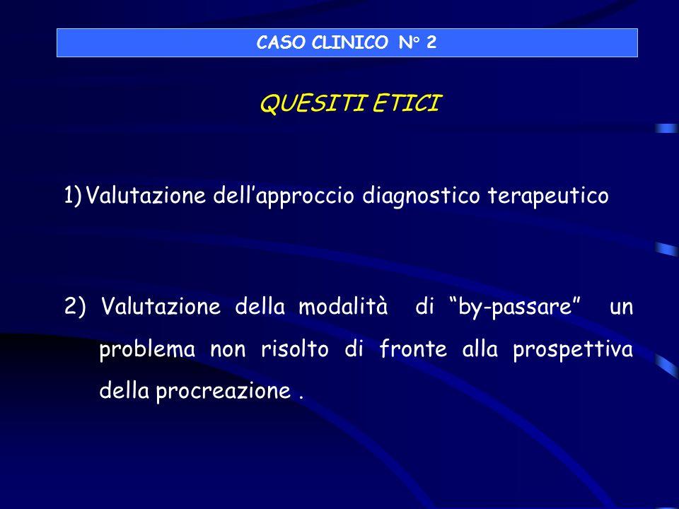 QUESITI ETICI 1)Valutazione dellapproccio diagnostico terapeutico 2) Valutazione della modalità di by-passare un problema non risolto di fronte alla p