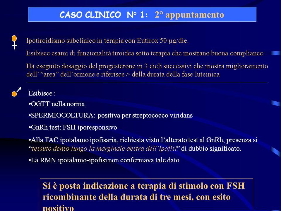 CASO CLINICO N° 1: 2° appuntamento Ipotiroidismo subclinico in terapia con Eutirox 50 µg/die. Esibisce esami di funzionalità tiroidea sotto terapia ch