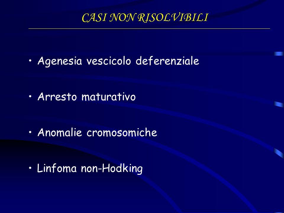 CASI NON RISOLVIBILI Agenesia vescicolo deferenziale Arresto maturativo Anomalie cromosomiche Linfoma non-Hodking