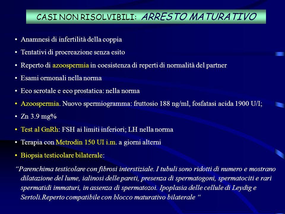 CASI NON RISOLVIBILI: ARRESTO MATURATIVO Anamnesi di infertilità della coppia Tentativi di procreazione senza esito Reperto di azoospermia in coesiste