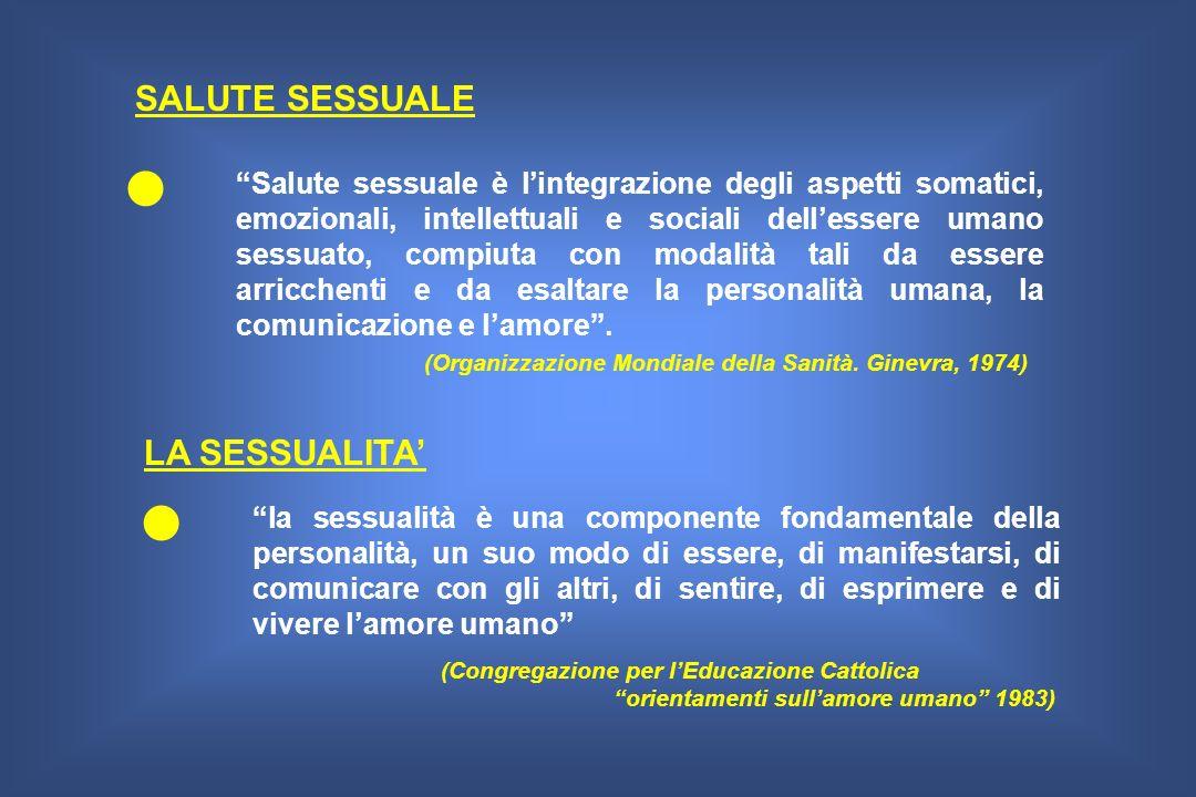SALUTE SESSUALE Salute sessuale è lintegrazione degli aspetti somatici, emozionali, intellettuali e sociali dellessere umano sessuato, compiuta con mo
