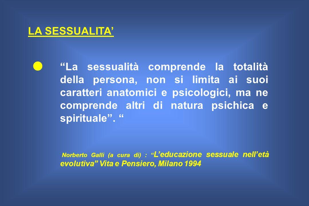 La sessualità comprende la totalità della persona, non si limita ai suoi caratteri anatomici e psicologici, ma ne comprende altri di natura psichica e