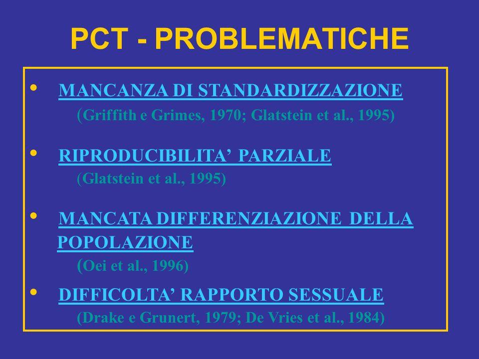 PCT - PROBLEMATICHE MANCANZA DI STANDARDIZZAZIONE ( Griffith e Grimes, 1970; Glatstein et al., 1995) RIPRODUCIBILITA PARZIALE (Glatstein et al., 1995)