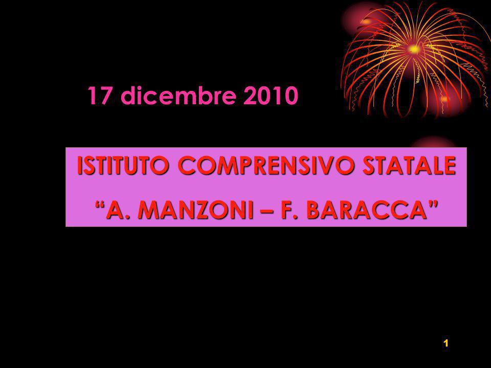 1 ISTITUTO COMPRENSIVO STATALE A. MANZONI – F. BARACCA 17 dicembre 2010