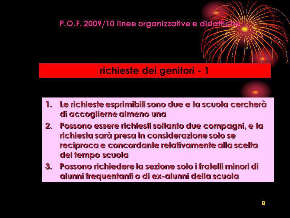9 P.O.F. 2009/10 linee organizzative e didattiche richieste dei genitori - 1 1.Le richieste esprimibili sono due e la scuola cercherà di accoglierne a
