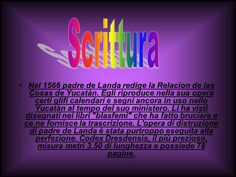 Nel 1566 padre de Landa redige la Relacion de las Cosas de Yucatàn. Egli riproduce nella sua opera certi glifi calendari e segni ancora in uso nello Y