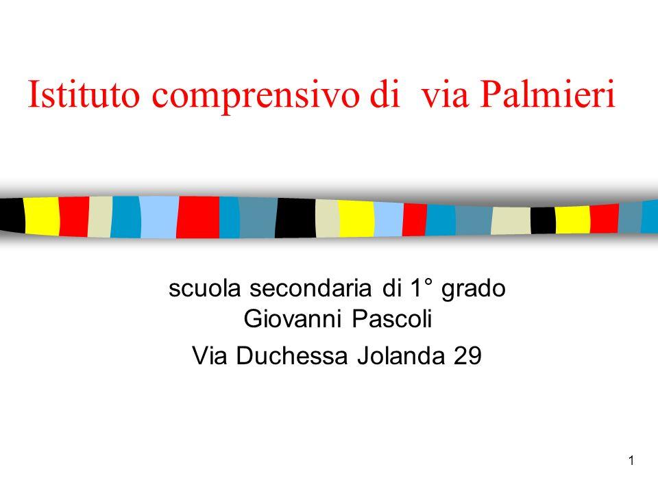 1 Istituto comprensivo di via Palmieri scuola secondaria di 1° grado Giovanni Pascoli Via Duchessa Jolanda 29