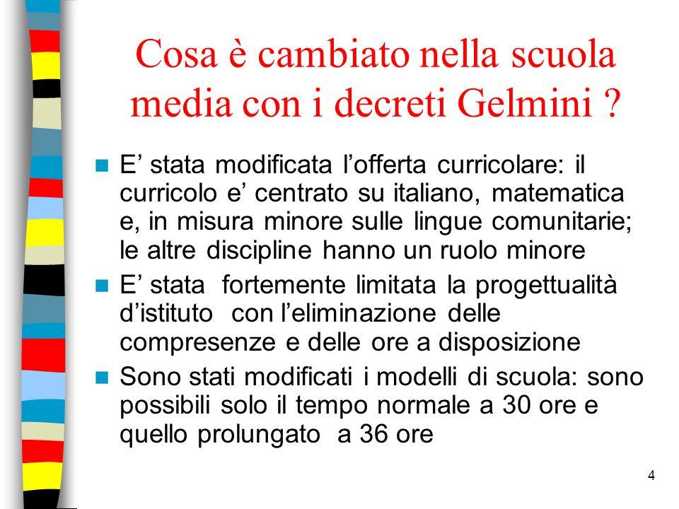 4 Cosa è cambiato nella scuola media con i decreti Gelmini ? E stata modificata lofferta curricolare: il curricolo e centrato su italiano, matematica