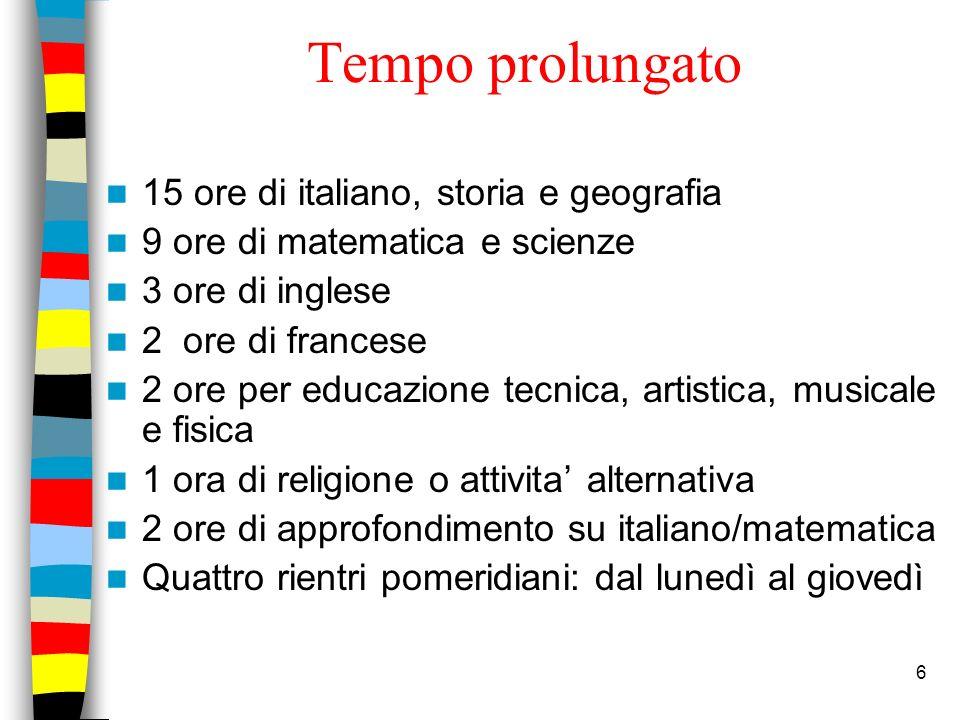 6 Tempo prolungato 15 ore di italiano, storia e geografia 9 ore di matematica e scienze 3 ore di inglese 2 ore di francese 2 ore per educazione tecnic