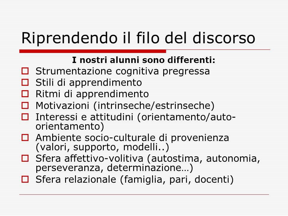 Riprendendo il filo del discorso I nostri alunni sono differenti: Strumentazione cognitiva pregressa Stili di apprendimento Ritmi di apprendimento Mot