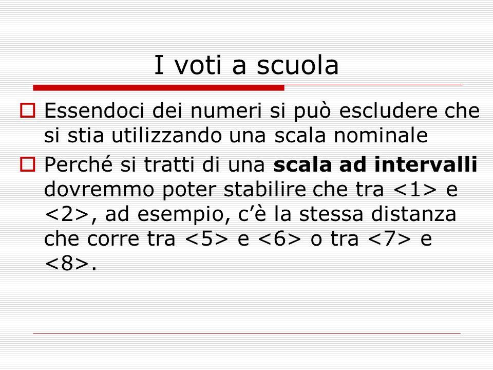 I voti a scuola Essendoci dei numeri si può escludere che si stia utilizzando una scala nominale Perché si tratti di una scala ad intervalli dovremmo