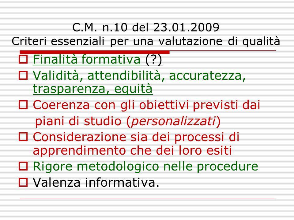 C.M. n.10 del 23.01.2009 Criteri essenziali per una valutazione di qualità Finalità formativa (?) Validità, attendibilità, accuratezza, trasparenza, e
