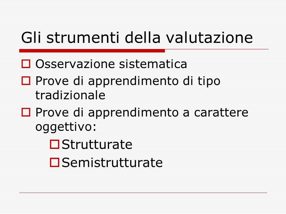 Gli strumenti della valutazione Osservazione sistematica Prove di apprendimento di tipo tradizionale Prove di apprendimento a carattere oggettivo: Str