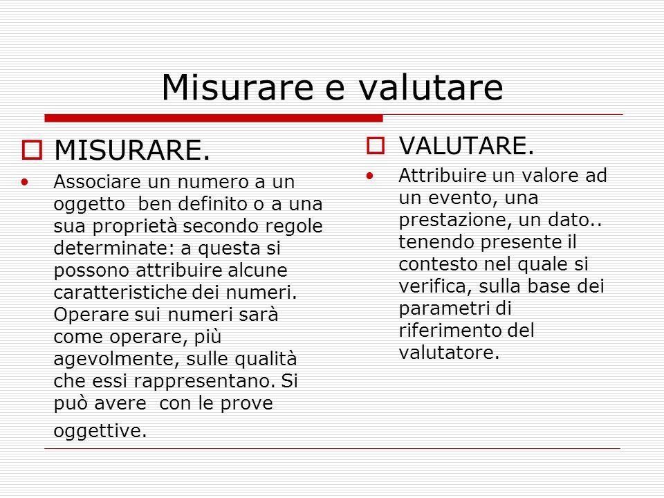 Misurare e valutare MISURARE. Associare un numero a un oggetto ben definito o a una sua proprietà secondo regole determinate: a questa si possono attr
