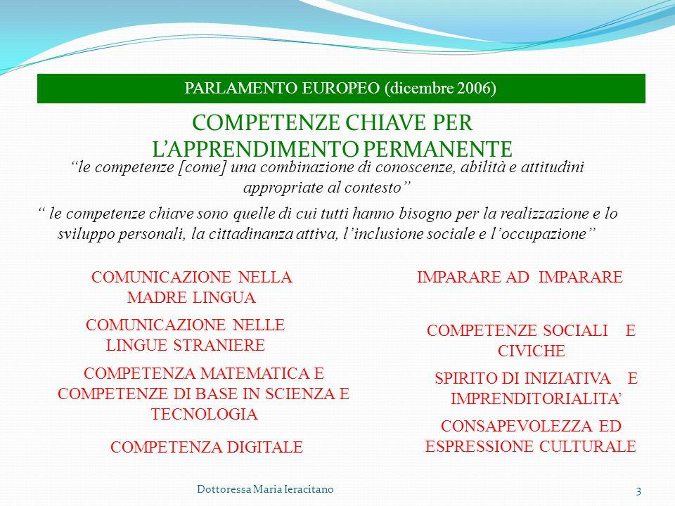 Dottoressa Maria Ieracitano3 PARLAMENTO EUROPEO (dicembre 2006) COMPETENZE CHIAVE PER LAPPRENDIMENTO PERMANENTE le competenze [come] una combinazione