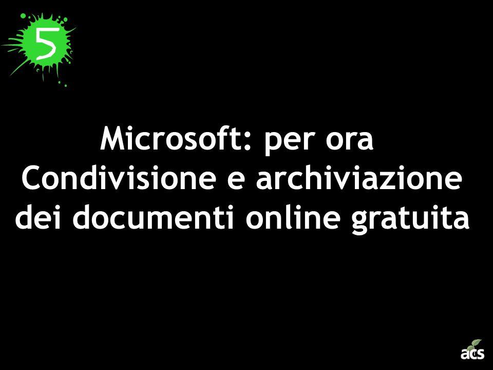 Microsoft: per ora Condivisione e archiviazione dei documenti online gratuita