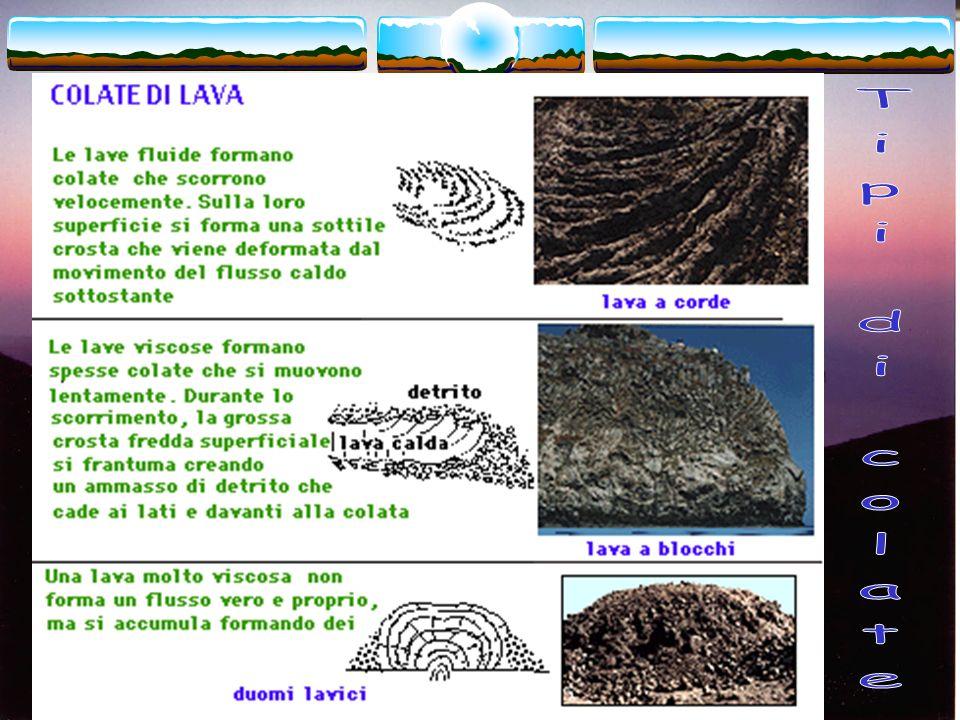 La colata di lava Una colata di lava che scorre lungo le pendici di un vulcano può essere divisa in due parti: il canale e il fronte. Il canale è il t
