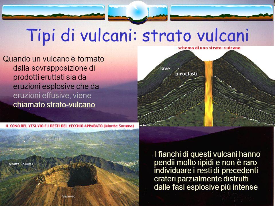 Tipi di vulcani: a scudo I vulcani a scudo si formano da eruzioni effusive con colate di lava molto fluida; hanno in pianta una forma allargata e fian