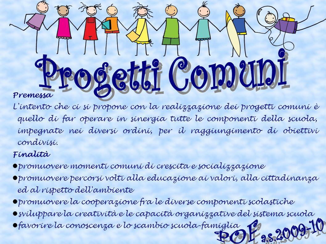 Premessa L'intento che ci si propone con la realizzazione dei progetti comuni è quello di far operare in sinergia tutte le componenti della scuola, im