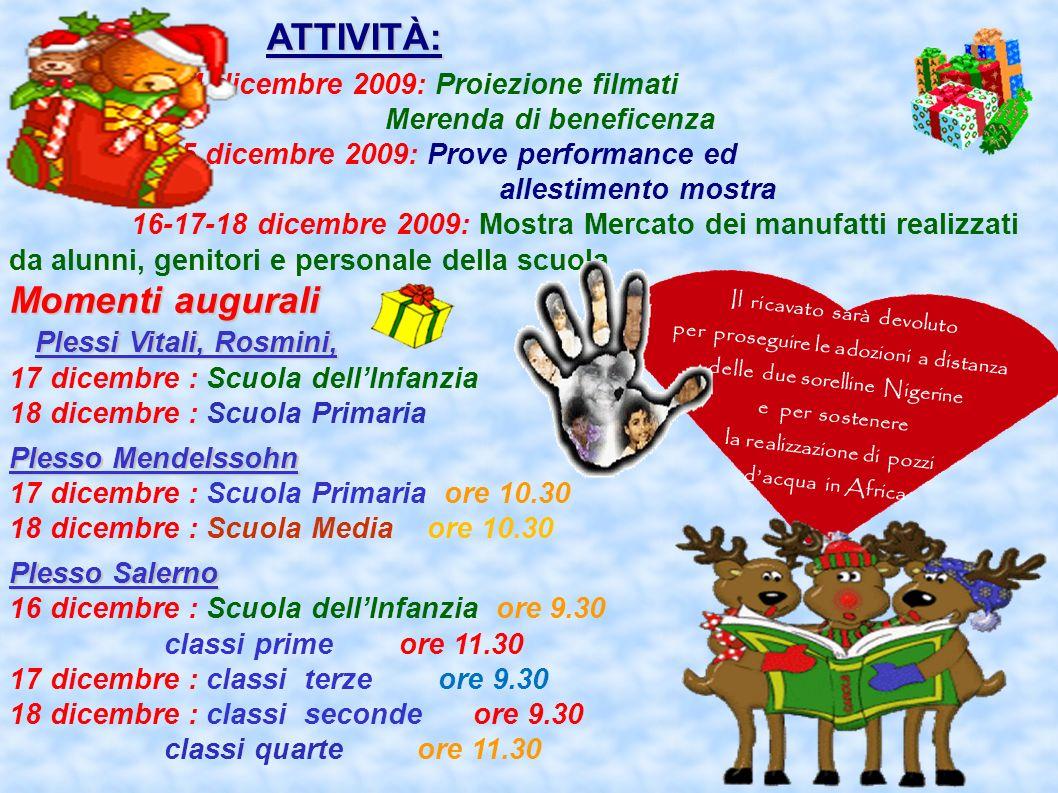 ATTIVITÀ: ATTIVITÀ: 14 dicembre 2009: Proiezione filmati Merenda di beneficenza 15 dicembre 2009: Prove performance ed allestimento mostra 16-17-18 di