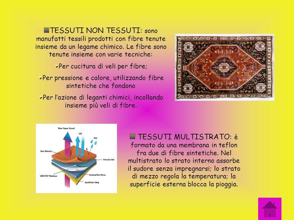 TIPI DI TESSUTI TESSUTI A MAGLIA: nel tessuto a maglia lintreccio dei fili è curvilineo. Uno o più fili sintrecciano in una serie di anelli. Questi te