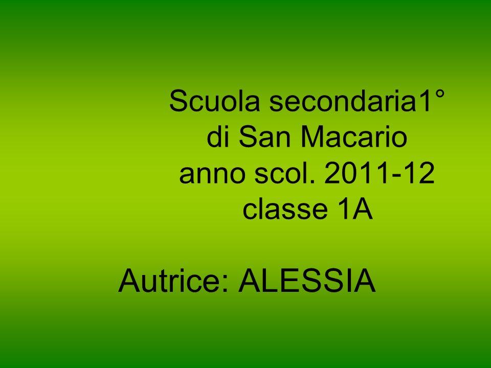 Scuola secondaria1° di San Macario anno scol. 2011-12 classe 1A Autrice: ALESSIA