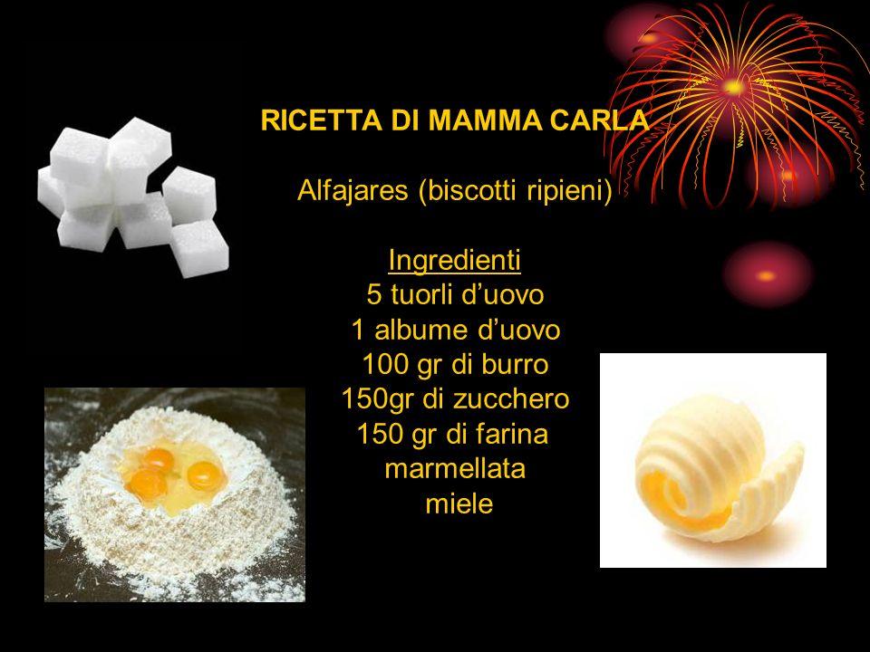 RICETTA DI MAMMA CARLA Alfajares (biscotti ripieni) Ingredienti 5 tuorli duovo 1 albume duovo 100 gr di burro 150gr di zucchero 150 gr di farina marmellata miele