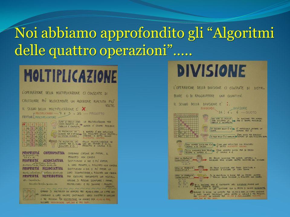 Noi abbiamo approfondito gli Algoritmi delle quattro operazioni…..