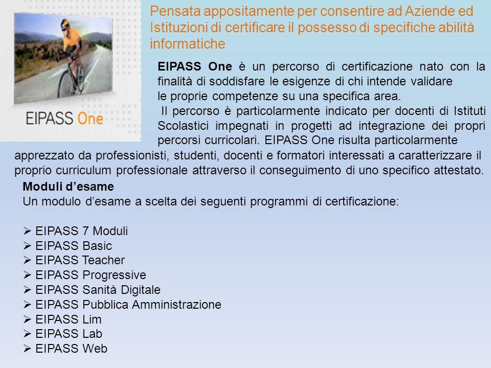 Pensata appositamente per consentire ad Aziende ed Istituzioni di certificare il possesso di specifiche abilità informatiche EIPASS One è un percorso