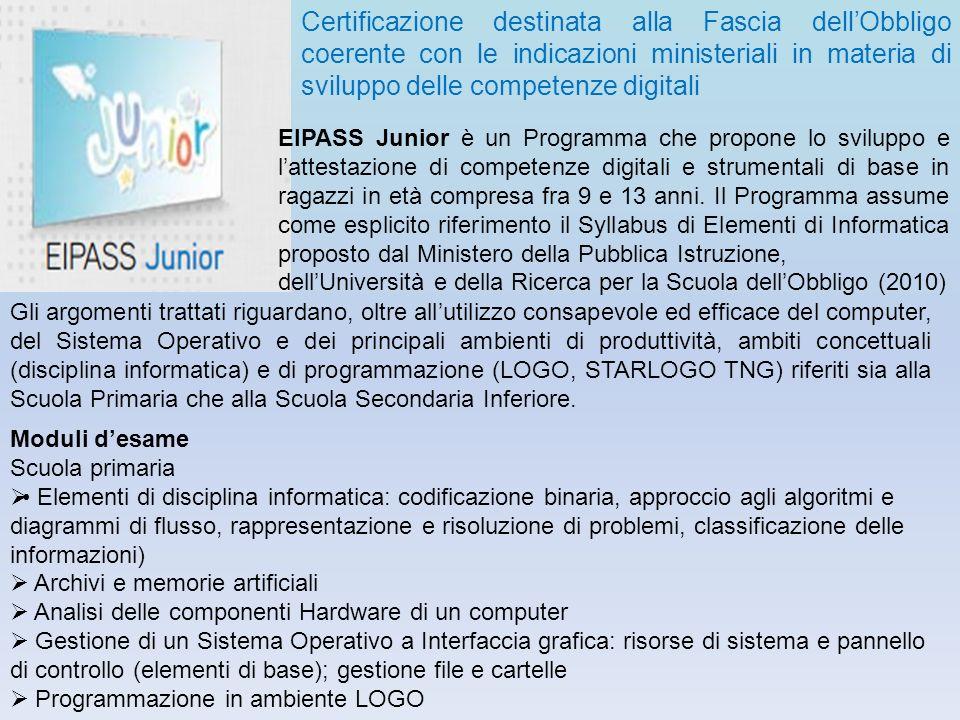 Certificazione destinata alla Fascia dellObbligo coerente con le indicazioni ministeriali in materia di sviluppo delle competenze digitali EIPASS Juni