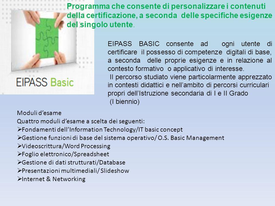 Programma che consente di personalizzare i contenuti della certificazione, a seconda delle specifiche esigenze del singolo utente. EIPASS BASIC consen