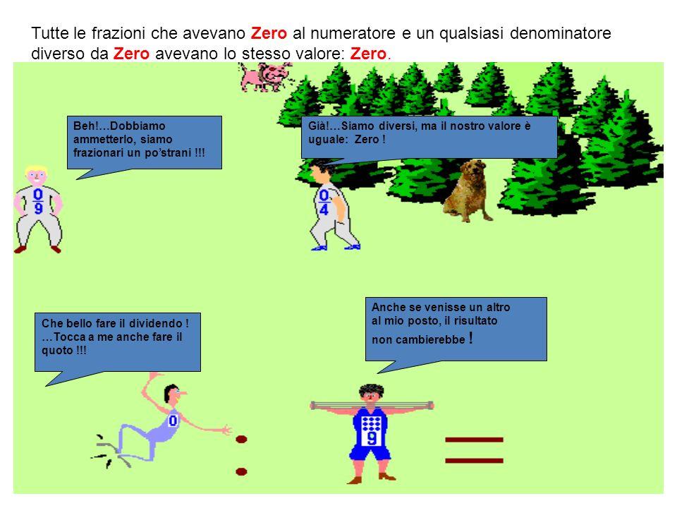 Tutte le frazioni che avevano Zero al numeratore e un qualsiasi denominatore diverso da Zero avevano lo stesso valore: Zero.