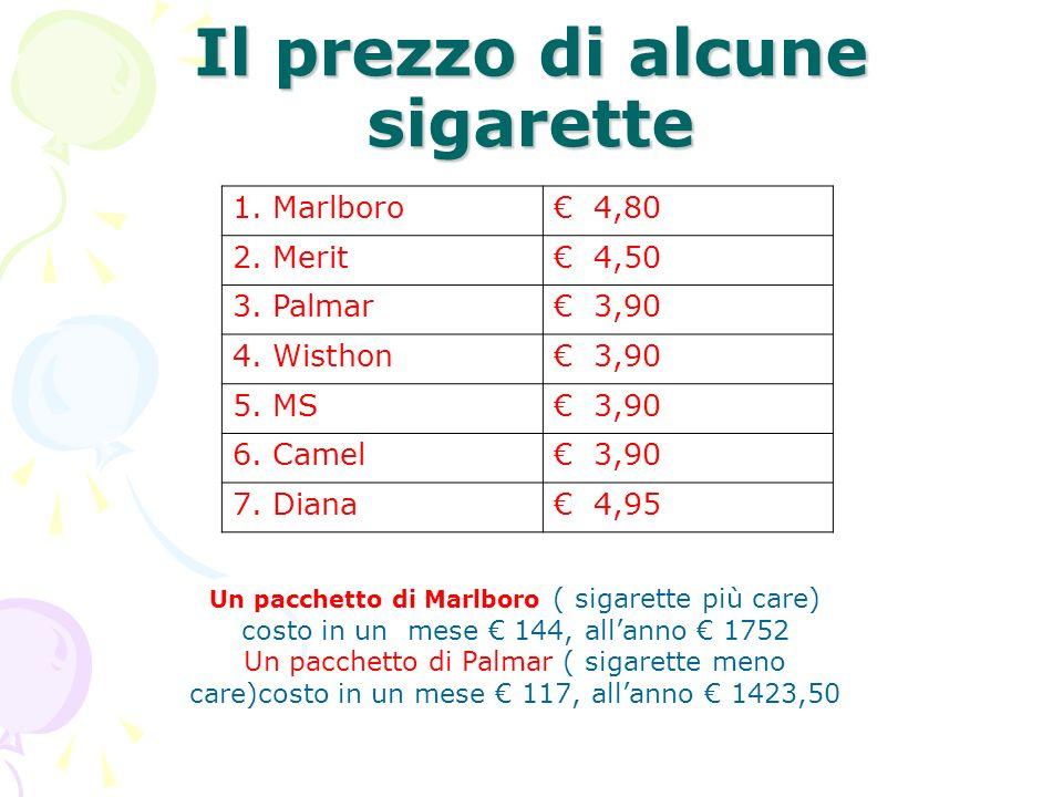 Il prezzo di alcune sigarette 1. Marlboro 4,80 2.