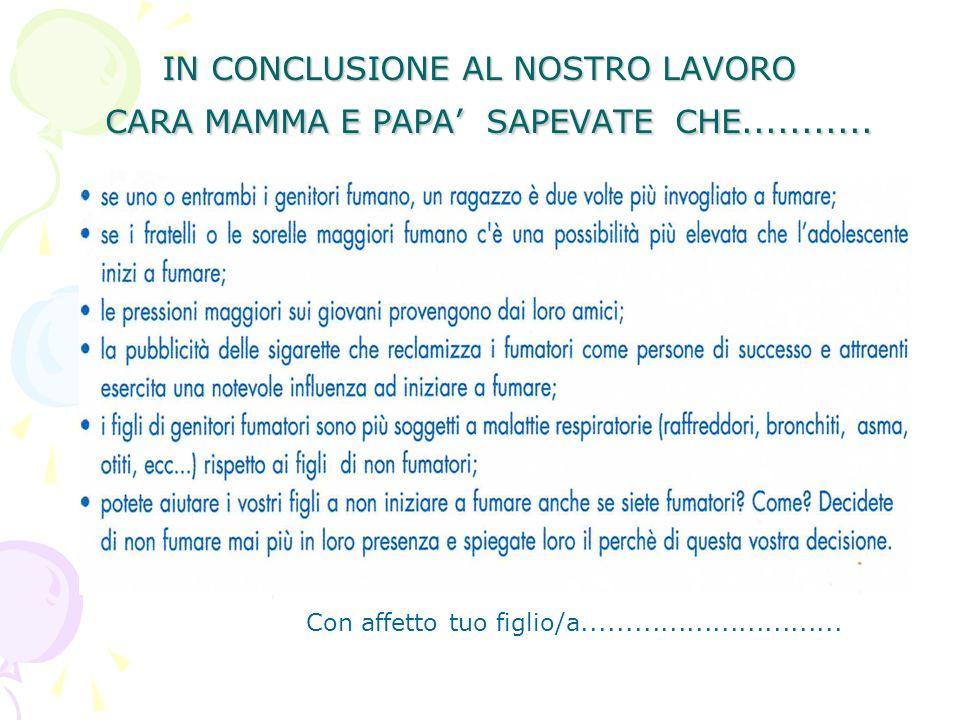 IN CONCLUSIONE AL NOSTRO LAVORO CARA MAMMA E PAPA SAPEVATE CHE...........