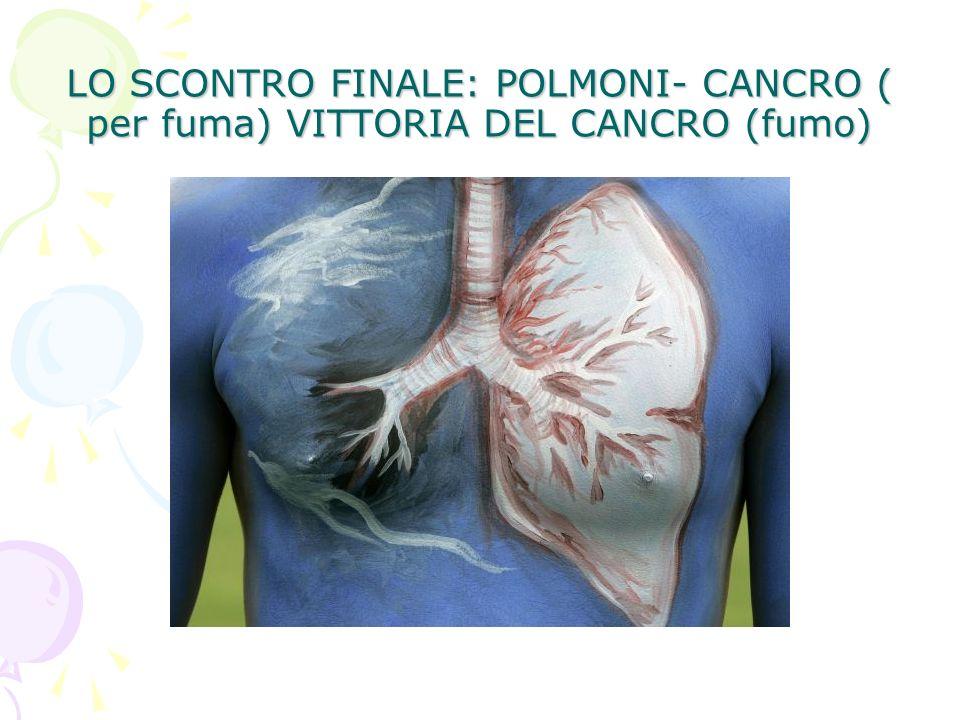 LO SCONTRO FINALE: POLMONI- CANCRO ( per fuma) VITTORIA DEL CANCRO (fumo)