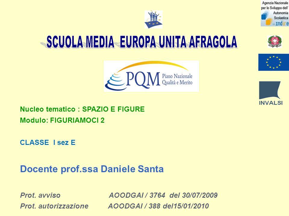 Nucleo tematico : SPAZIO E FIGURE Modulo: FIGURIAMOCI 2 CLASSE I sez E Docente prof.ssa Daniele Santa Prot.