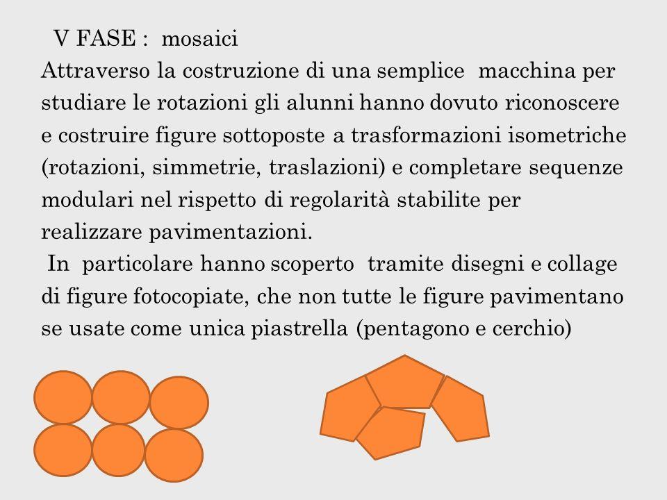 V FASE : mosaici Attraverso la costruzione di una semplice macchina per studiare le rotazioni gli alunni hanno dovuto riconoscere e costruire figure sottoposte a trasformazioni isometriche (rotazioni, simmetrie, traslazioni) e completare sequenze modulari nel rispetto di regolarità stabilite per realizzare pavimentazioni.