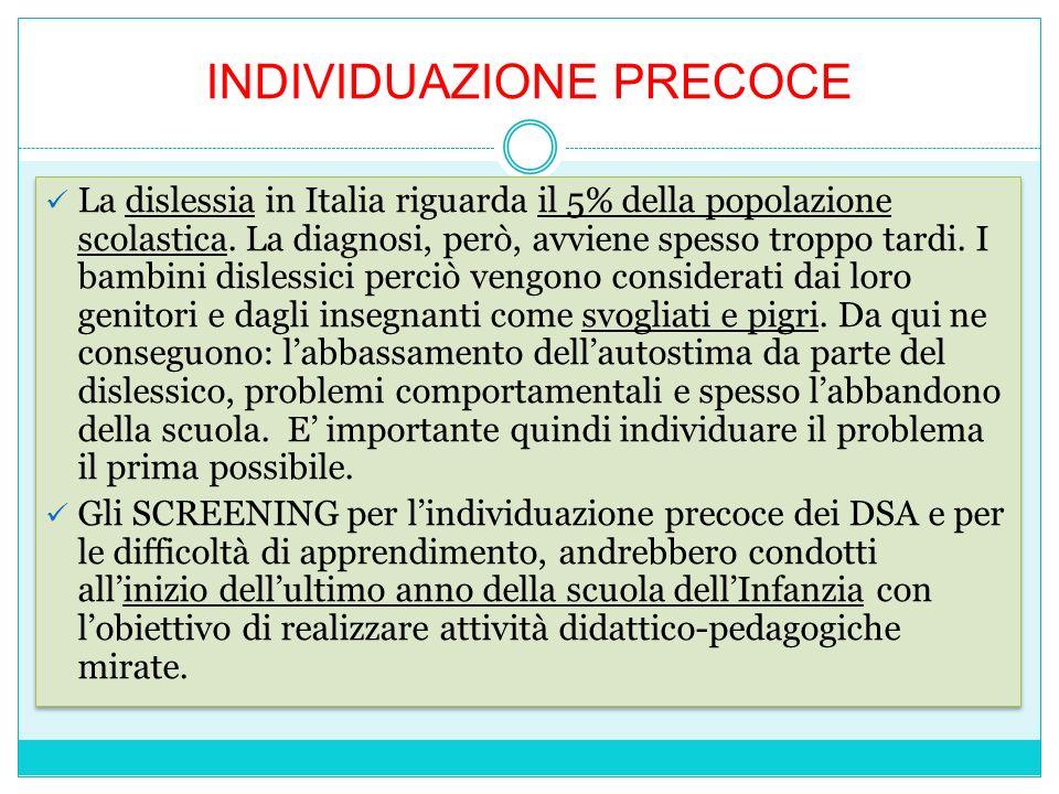 INDIVIDUAZIONE PRECOCE La dislessia in Italia riguarda il 5% della popolazione scolastica. La diagnosi, però, avviene spesso troppo tardi. I bambini d
