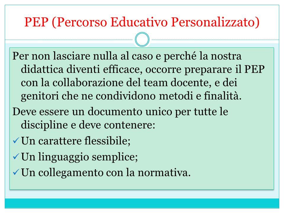PEP (Percorso Educativo Personalizzato) Per non lasciare nulla al caso e perché la nostra didattica diventi efficace, occorre preparare il PEP con la